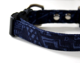 Linen Bohemian Dog Collar - Dark Blue, Navy