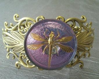 Czech Glass Dragonfly Filigree Cuff Bracelet