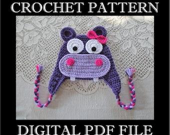 PDF PATTERN - Hippo Crochet Hat Pattern