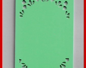 Die Cut Lace Butterflies CARD STOCK Tags White or Pale Green Set 12