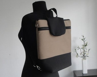 Customizable for Color Fabrics and Size Backpack laptop - FULLY padded - WATERPROOF lining or cotton - COMPARTMENT laptop - interior Pockets