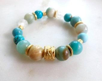 Reserved item - Bohemian style bracelet - Amazonite, Turquoise and Quartz beads - stretch bracelet