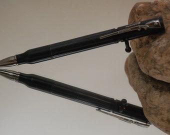 Handmade Bolt Action Rifle Acrylic Pen - Carbon Fiber with Black Finish