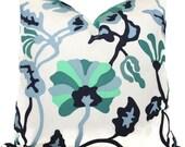 Outdoor Potalla Decorative Pillow Cover, Quadrille Blue Floral Alan Campbell, 18x18, 20x20, 22x22, 24x24 or Lumbar pillow, throw pillow