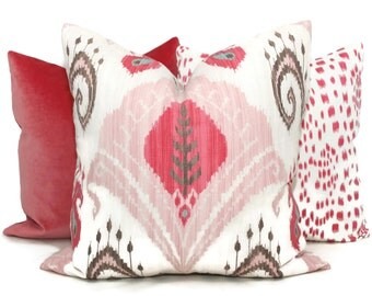 Blush Pink Ikat Decorative Pillow Cover 18x18, 20x20 or 22x22 Eurosham or Lumbar Pillow, Throw, Accent Pillow