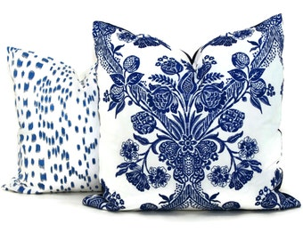 Schumacher Carolina Ultramarine Blue Pillow Cover 18x18, 20x20 or 22x22, 24x24, Eurosham or lumbar pillow, throw pillow, accent pillow