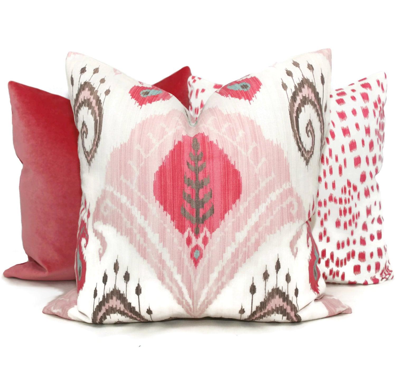 Blush Pink Decorative Pillows : Blush Pink Ikat Decorative Pillow Cover 18x18 20x20 or 22x22