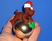 Polymer Clay Chocolate Lab Dog on Large Glass Ornament