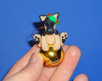 Polymer Clay German Shepherd Dog on Gold Glass Ornament