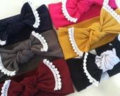 POM Stretch Knit Headband- Baby Toddler Child Turban Head wrap Headband