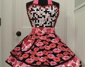 Valentines Apron-Womens Apron-Love Games & Kisses Valentines Flounce Apron