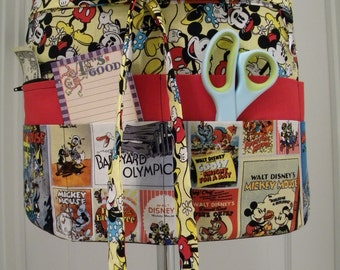 Teacher Crafter Vendor Utility Apron-Mickey and Minnie Movie Posters