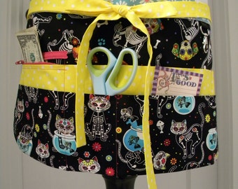 Teacher Aprons-Crafter Vendor Utility Apron-Day of the Dead Pups & Kitties