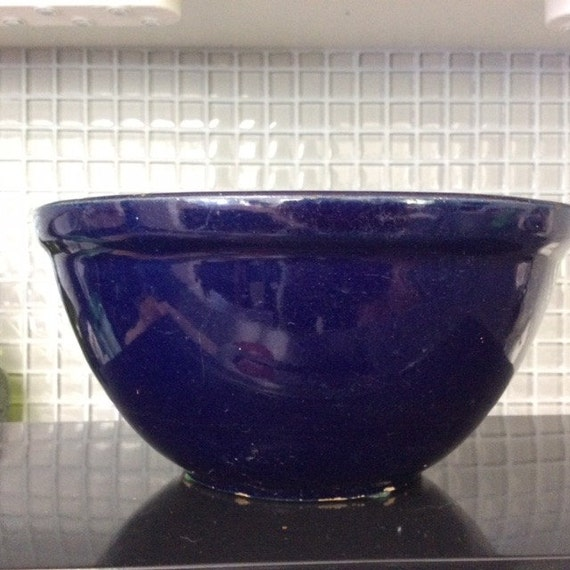Cobalt Blue Pottery Mixing Bowl Vintage By Vintagetreasuresrus