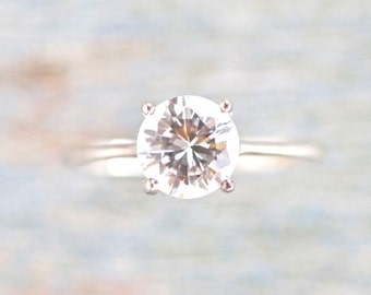 Elegant Solitaire Ring - Crystal Rock Sterling Silver Ring Size 7.5