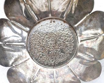 Lotus Flower Trinket Dish or Bowl - Dark Silver Jewelry holder - Boho Home Decor