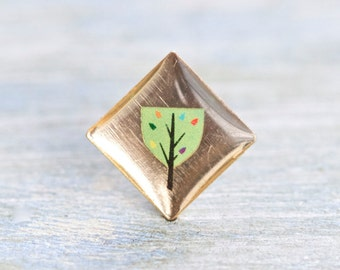 Tiny Tree Brooch - Square Fall Badge - Autumn Lapel Pin