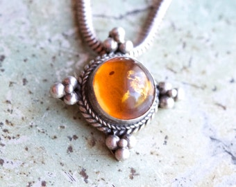 Amber Bubble Necklace - Dark Sterling Silver Pendant on Chain - Made in India