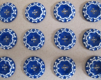 1930's buttons, 24 Art Deco casein buttons, vintage galalith plastic buttons made in Germany, medium blue & white buttons, unused old stock