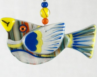 Bird Fused Glass Ornament