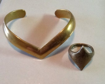Hand made Viking or Renaissance bracelet and ring brass