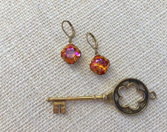 Astral Pink Swarovski Crystal Earrings, Raw Brass, Cushion Cut Square, Sparkly Earrings