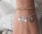 ELOA - Bracelet Dainty Personalized engraved charms - STERLING SILVER chain