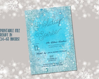 Holiday party invitation printable / Christmas party invite /  glitter snowflake invitation / Holiday open house invite / snowflake invite
