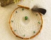 Natural white dream catcher , green African jade gemstones , hand woven native style dreamcatcher