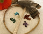 Medium DIY dream catcher kit - natural orgainic willow hoop - hand spun silk string - gemstone - feathers