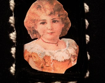 Sweet Blonde Girl Matchbox Ornament