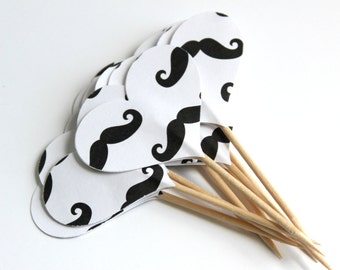 Mustache Cupcake Toppers, Heart Food Toppers, Parties, Baby Shower