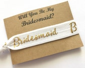 Hair Tie Bridesmaid Gift - Will you be my Bridesmaid Gift - Hair Tie Favor - Bridesmaid Proposal - Bridal Party Gift - Gold Glitter Hair Tie