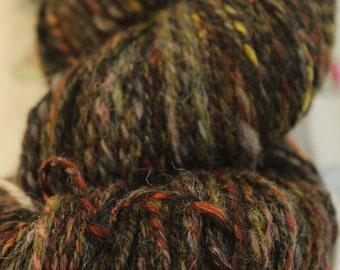 150gms DK weight hand spun yarn 'Bonfire night'  muted colourway. 280m 100% wool