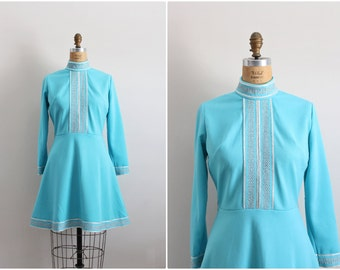 60s Turquoise Dress / Mod mini dress/ Space Age Dress / Fit and Flare Dress/ Size S/M