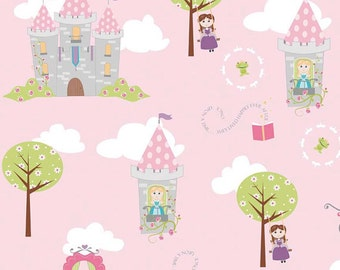 04470 - Riley Blake Dream a Wish C4810  Main castles in pink cotton fabric- 1 yard