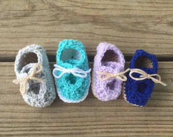 Baby Girl Boy Crochet Boat Loafer Tie Shoes ~ 0-6 Mos ~ You Pick Colors ~ Super Cute For Summer!!