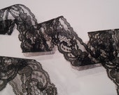 "Black Lace Ribbon / 1.7"" Black Lace Ribbon / Black Lace / Wedding Lace Ribbon / DIY Goth Black Lace Ribbon / Favor Ribbon / Crafting Ribbon"