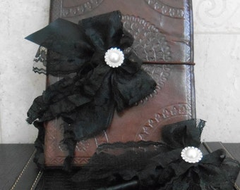 Wedding Guest Book SALE  / Leather Guest Book / Book Pen / Wedding Wishes Book / Goth Wedding Wishes Book / Vintage Style Wedding Guest Book