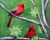 "Bird painting on 11"" x 14"" stretched canvas, Red cardinal painting, original canvas art, unframed art, wall decor, home decor, office art"