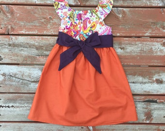 Girls Fall Dress Pumpkin Orange Plum Paisley 6 12 18 24 2T 3T 4T 5/6 7/8 9/10 11/12 Matching Sister Dresses Sibling Outfit Fall Pictures