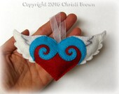 Winged Heart Felt Christmas Tree Ornament Softie Pattern Sew Your Own Stuffed Flying Heart