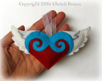 Winged Heart Felt Christmas Tree Ornament Softie Pattern Sew Your Own Stuffed Flying Heart