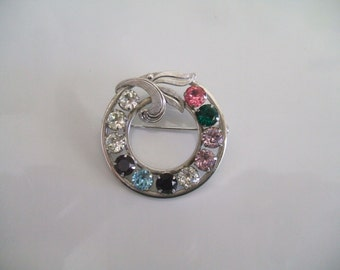 Vintage Sterling Silver Van Dell Circle Pin Brooch Mid-Century Pin Brooch with Birthstones Brooch with Leaves Mother's Pin