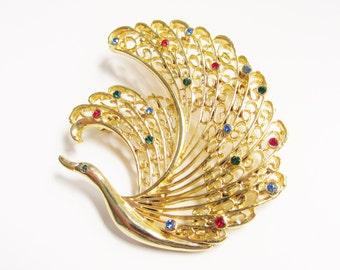 Large Vintage Rhinestone Bird Swan Brooch Multi Color 1960s