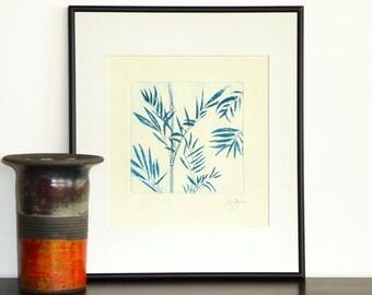Original Etching Print BAMBOO LEAVES Tree Asian Aquatint Printmaking Fine Art Wall Decor Botanical Print 10x10
