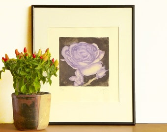 Original Aquatint Etching A ROSE FOR YOU The Queen Flower Botanic Wall Decor Poetic Mezzotint Printmaking Purple Rose Etching Print 10 x10
