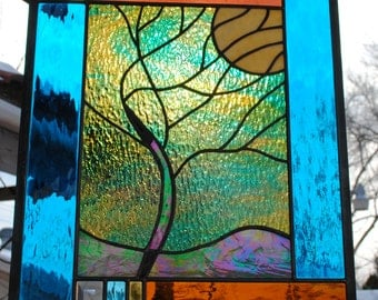 Stained Glass Window Panel Stormy Tree 17 X 19