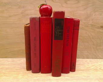 Vintage book collection - decorative books - red books - red book collection - photo prop - vintage wedding - six books - red decor