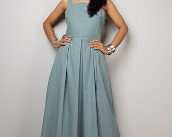 Denim Dress / Long Cotton Denim Summer Halter dress :  The Denim Collection no. 2